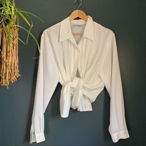 Vintage White Button Down Embroidered Blouse L